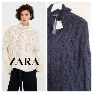 NEW🌸ZARA Oversized Cable Knit Loose Weave Sweater